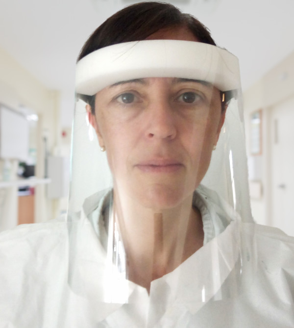 women with face shield